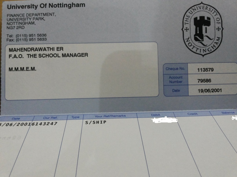 Scholarship Slip from Unott
